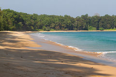 Beach line Indian ocean. Sand, tree, forest. Clean lagoon Royalty Free Stock Images