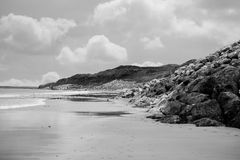 Beach beside the links. Ballybunion beach beside the links golf course in county kerry ireland black and white royalty free stock photos