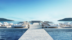 Beach living lounge & Party Lounge & Chill out Lounge  - Sundeck and Lagoon view / 3d rendering image Royalty Free Stock Photos