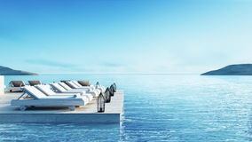 Beach living lounge & Party Lounge & Chill out Lounge  - Sundeck and Lagoon view / 3d rendering image Stock Photos