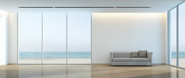 Beach living room. Sea view living room- 3D rendering Stock Image