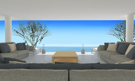 Beach living on Sea view and blue sky background-3d rendering Royalty Free Stock Photo
