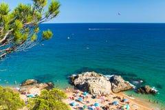 Beach in Lloret de mar, Costa brava, Spain. Scenery view on sea bay stock photography