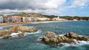 On the beach in Lloret de Mar,  Spain Royalty Free Stock Image