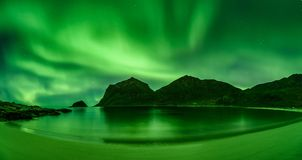 Beach in the Lofoten islands in Norway with strong green norther lights. Haukland beach in the Lofoten islands in Norway with strong green northern lights Aurora Stock Photos