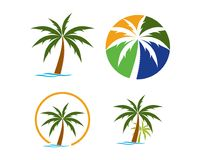 Beach logo collection. Is a symbol associated with nature, especially beaches, sea, water, coconut, coconut trees Royalty Free Stock Photography