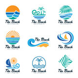 The beach logo with sea wave , coconut leaf , boat and sun vector set design Royalty Free Stock Photography