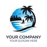 Beach logo vector template stock illustration
