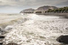 The beach looking south towards Kamari Santorini Stock Photos