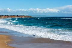 The beach looking south towards Southport at Port Noarlunga South Australia on 6th September 2018 stock photo