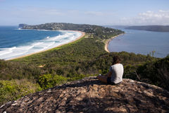 Beach lookout. Young girl is enjoying beach look out, Palm beach in Sydney, NSW, Australia stock image