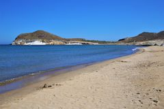 Beach Los Genoveses from Nijar, Almeria. stock image