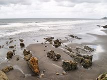 """The beach of """"Los Quebrantos"""". San Juan de la Arena. Asturias. Spain. Stock Photo"""