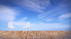 Beach lounge and balconies with chair and seascape in summer sea Royalty Free Stock Photography