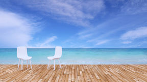 Beach lounge and balconies with chair and seascape in summer sea Royalty Free Stock Images