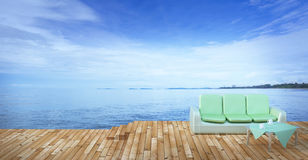 Beach lounge and balconies with sofa and seascape in summer seas Royalty Free Stock Image