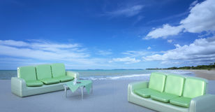 Beach lounge and balconies with sofa and seascape in summer seas Royalty Free Stock Photo