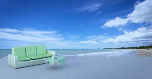 Beach lounge and balconies with sofa and seascape in summer seas Stock Image