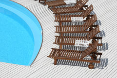 Beach lounge chair near the pool Stock Photography