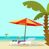 Beach lounge chair near sea and sun umbrella and palm vector illustration, flat cartoon seafront resort landscape with. Beach sand and island on horizon stock illustration