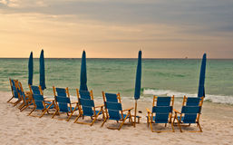 Beach lounge chairs Royalty Free Stock Image