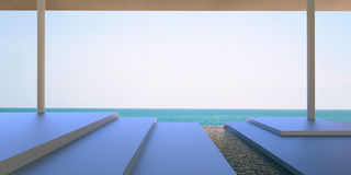 Beach Lounge lifestyle - Terrace Modern and Floor with Sea and Sky / Open Living room Stock Images