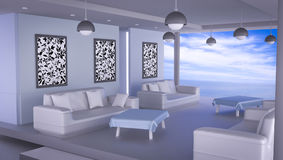 Beach lounge with sea and blue sk. Y , Interiors 3D Rendering Royalty Free Stock Photo