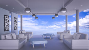 Beach lounge with sea and blue sk. Y , Interiors 3D Rendering Stock Photos