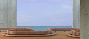 Beach Lounge , sundeck and sea view balcony On the winter holiday / Concrete wall. / 3d render stock photo