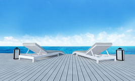 Beach lounge with sundeck on Sea view and blue sky background-3d Stock Photos