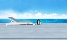 Beach lounge with sundeck on Sea view and blue sky background-3d Stock Image