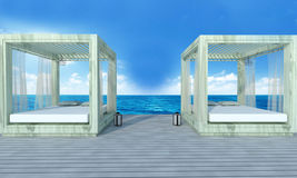 Beach lounge with sundeck on sea view and blue sky background-3d Royalty Free Stock Images