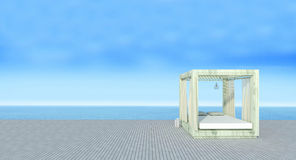 Beach lounge with sundeck on sea view and blue sky background-3d Royalty Free Stock Photography