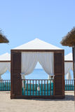 Beach lounge tents Royalty Free Stock Images