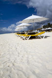 Beach Lounge with Umbrellas. Rows of several lounge chairs and umbrellas on the beach Royalty Free Stock Photography