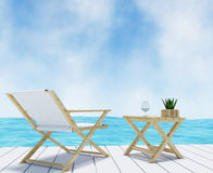 Beach lounge on vacation seaview in 3D rendering Royalty Free Stock Image