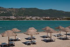 Beach lounge zone royalty free stock photos
