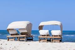 Beach lounger for couples at Stock Photos