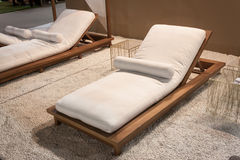 Beach lounger on display at HOMI, home international show in Milan, Italy Royalty Free Stock Image