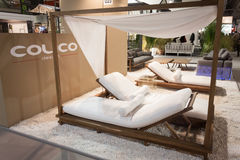 Beach lounger on display at HOMI, home international show in Milan, Italy Royalty Free Stock Photography