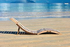 Beach with lounger at Seychelles Stock Image
