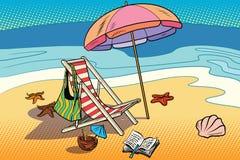 Beach lounger and sun umbrella. Rest on the sea and tourism. Comic cartoon illustration pop art retro vector Stock Photography