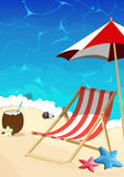 Beach with lounger and umbrella Stock Photos