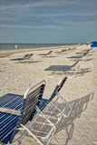 Beach Loungers in the Sand. Rows of beach Lounges in the sand at Sanibel Island, Florida stock image