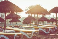 Beach loungers and umbrellas on the sea. Main beach in Agadir ci. Ty located on the shore of the Atlantic Ocean.Morocco Stock Photos