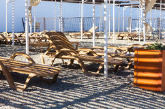 Beach loungers under a canopy Royalty Free Stock Photography