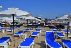 Beach lounges Stock Photos