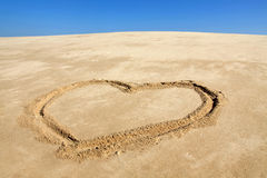 Beach with love heart Royalty Free Stock Photography