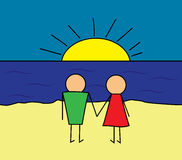 Сhildren's drawing. On The Beach. Lovers on the beach. Cartoon illustration Stock Photos