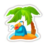 Beach with luggage, accessories, palm trees in middle of sea. Summer tropical sticker, label, logotype, badge on the topic travel, vacation. Icon with beach stock illustration
